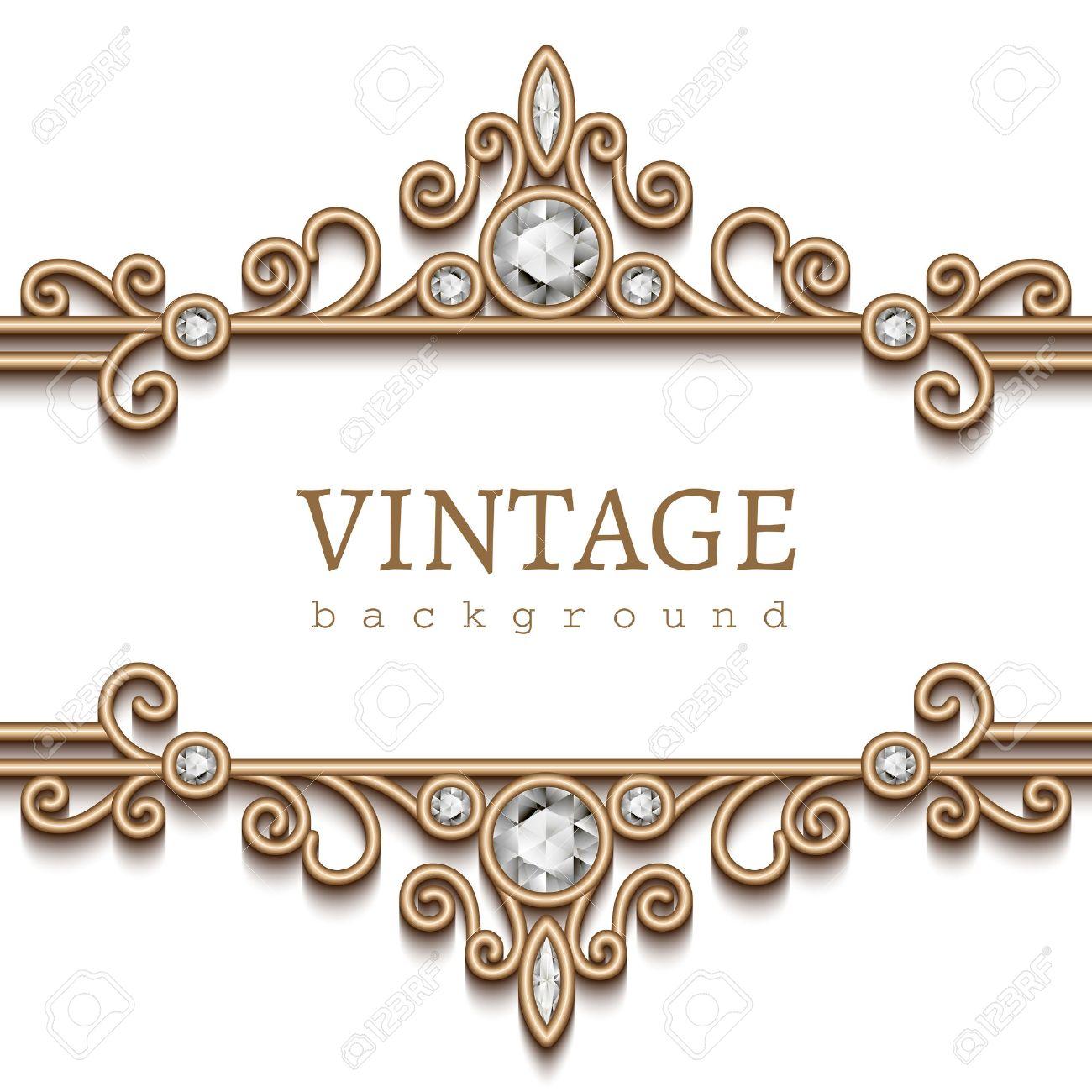 Vintage gold frame on white, divider, header, decorative jewelry background - 43128213