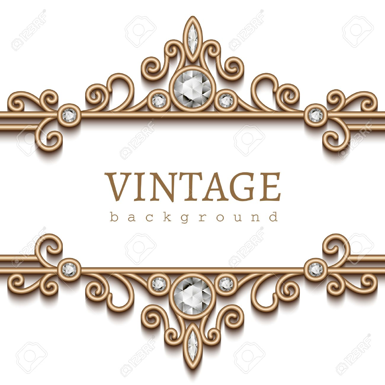 Vintage Gold Frame On White Divider Header Decorative Jewelry
