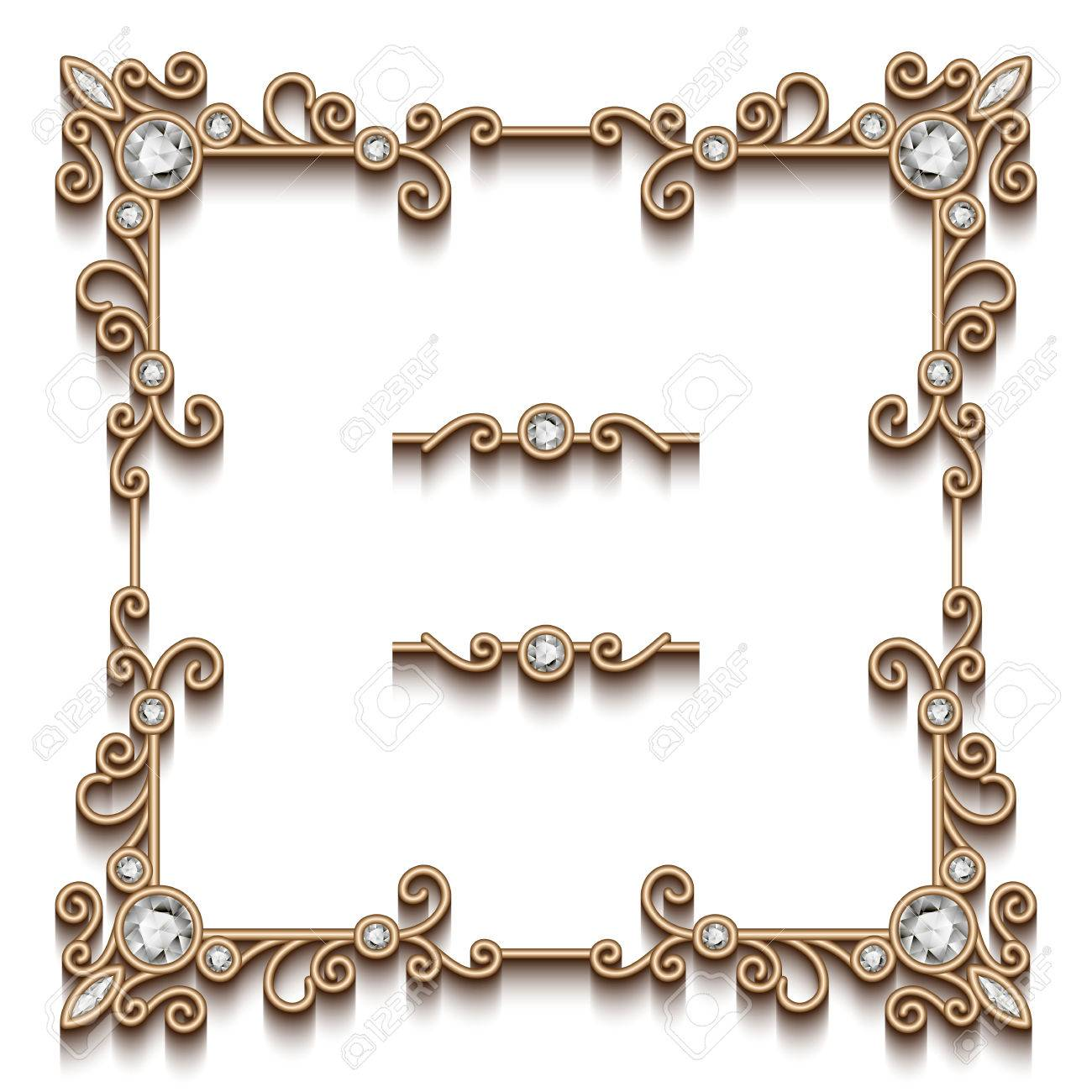 vector vintage gold square jewelry frame on white background