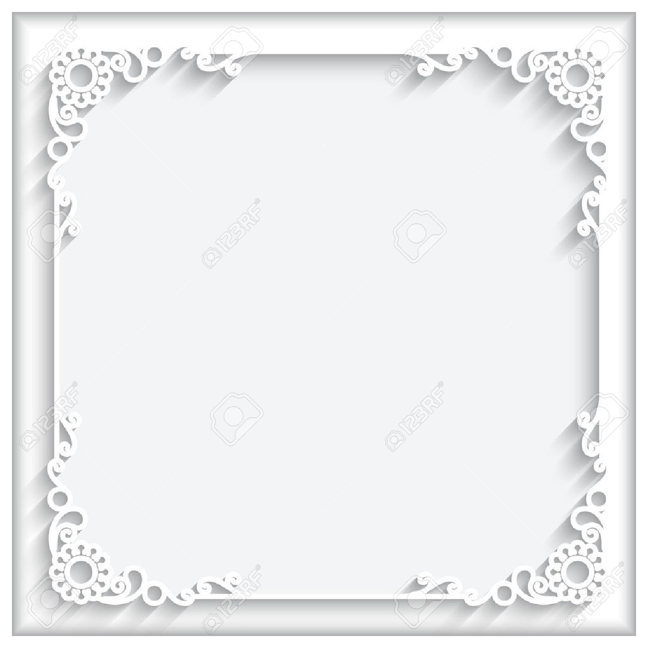 Abstract square lace frame with paper swirls, ornamental corners, white decorative background - 43130287