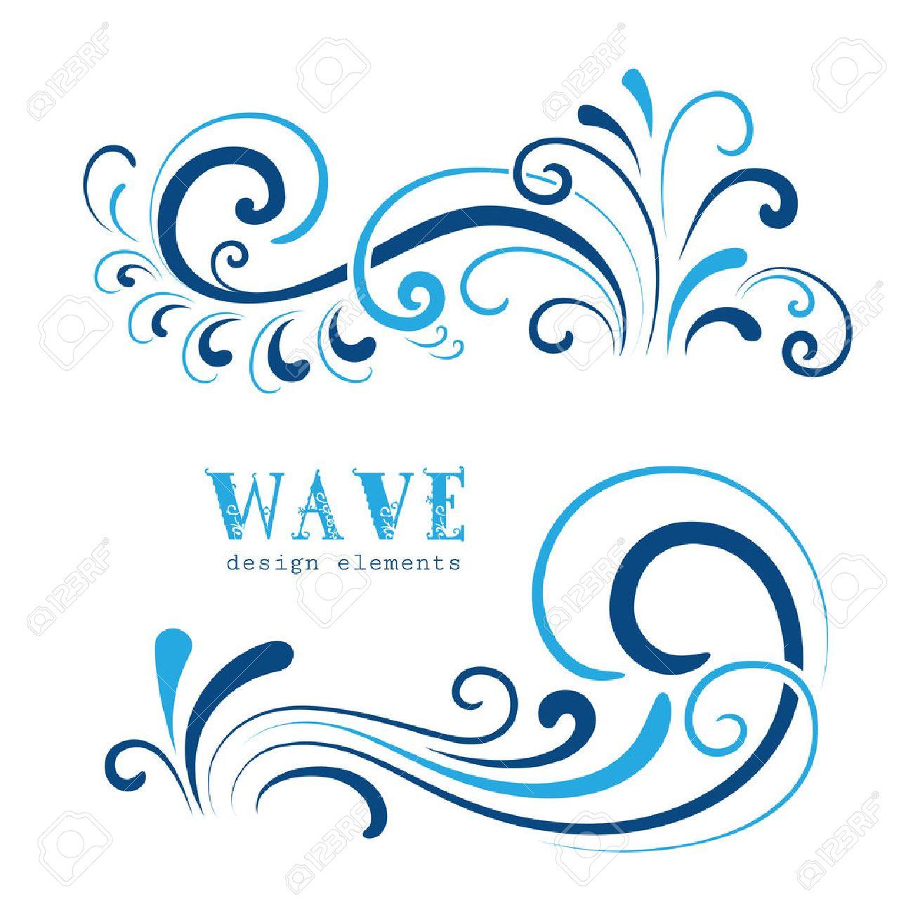Wave icons, wavy shapes, decorative swirls on white - 43130409