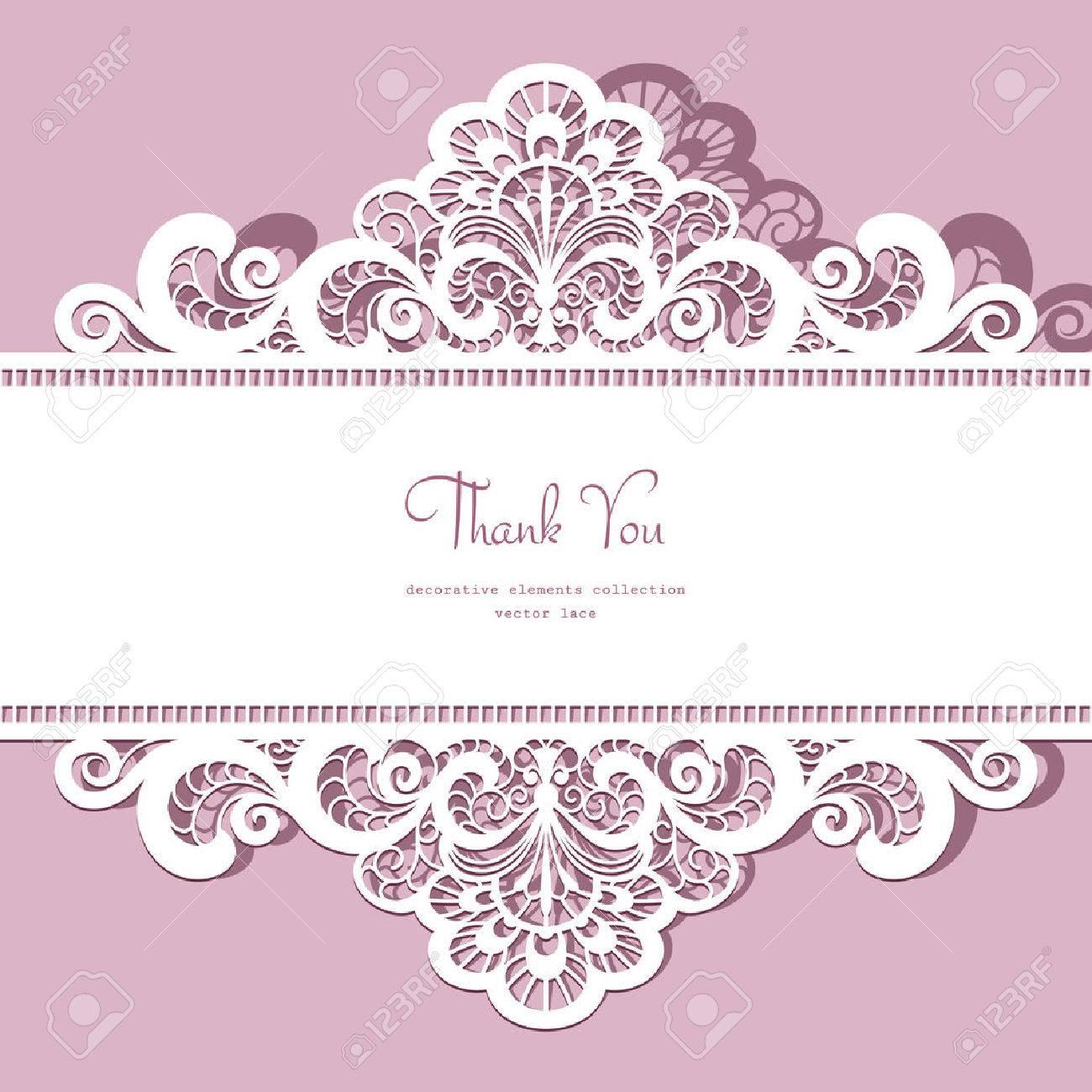 Elegant ornate lace frame, greeting card or invitation template - 43136280