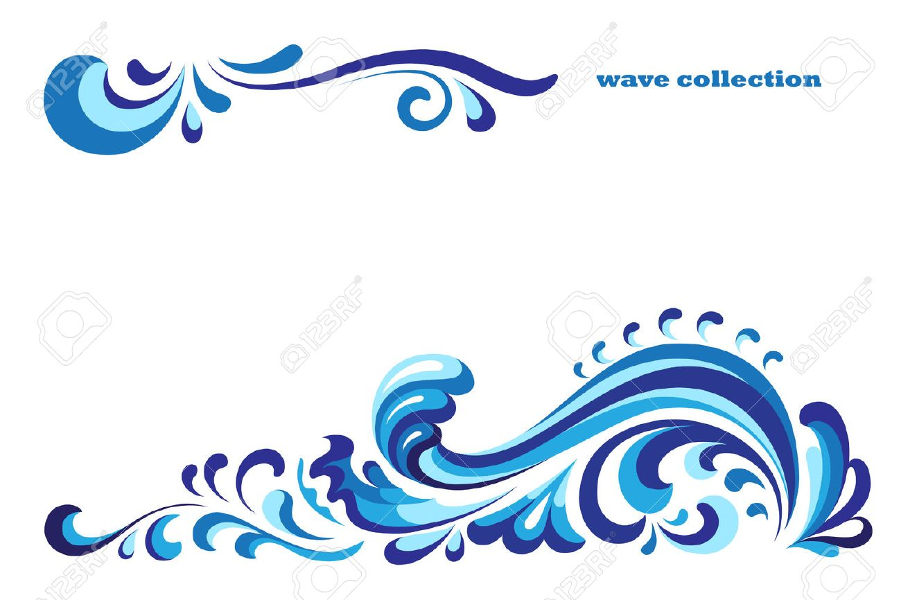 Ornamental blue wave, curly decoration on white - 43136284