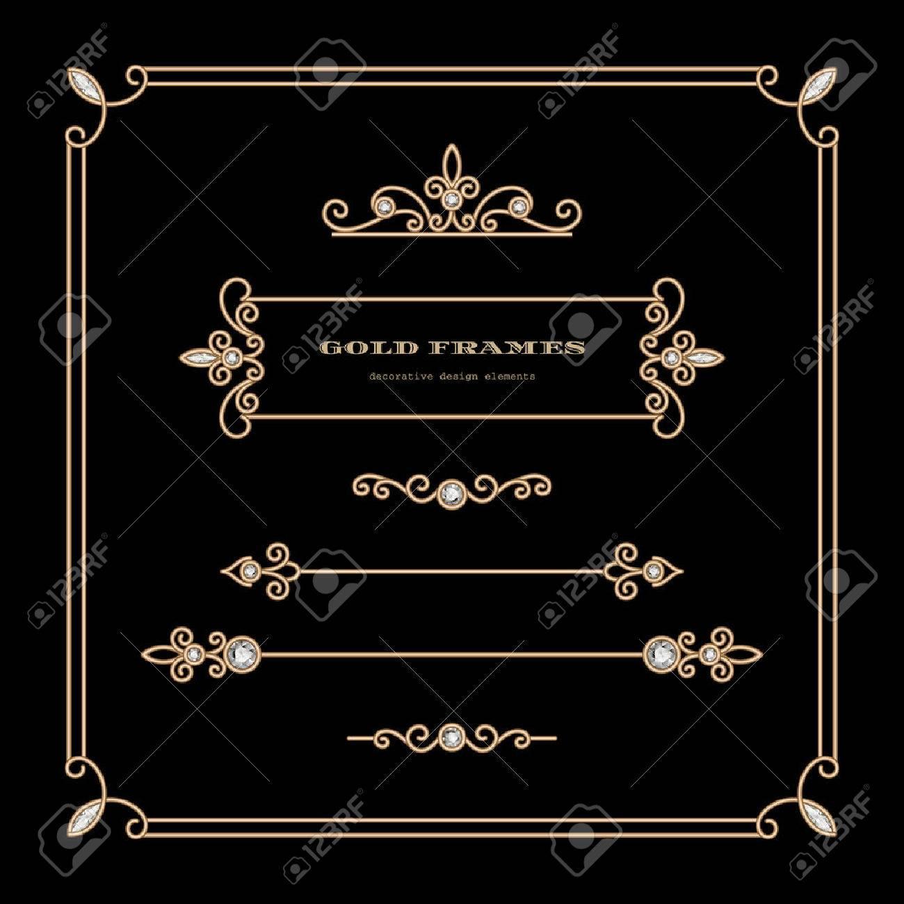 Vintage gold vignettes and dividers in square frame, set of decorative design elements - 43136288