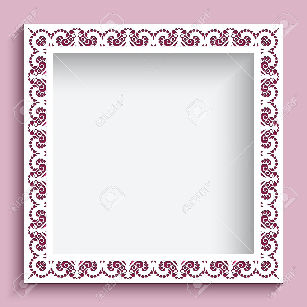 Square frame with paper swirls, ornamental lace background - 43136295