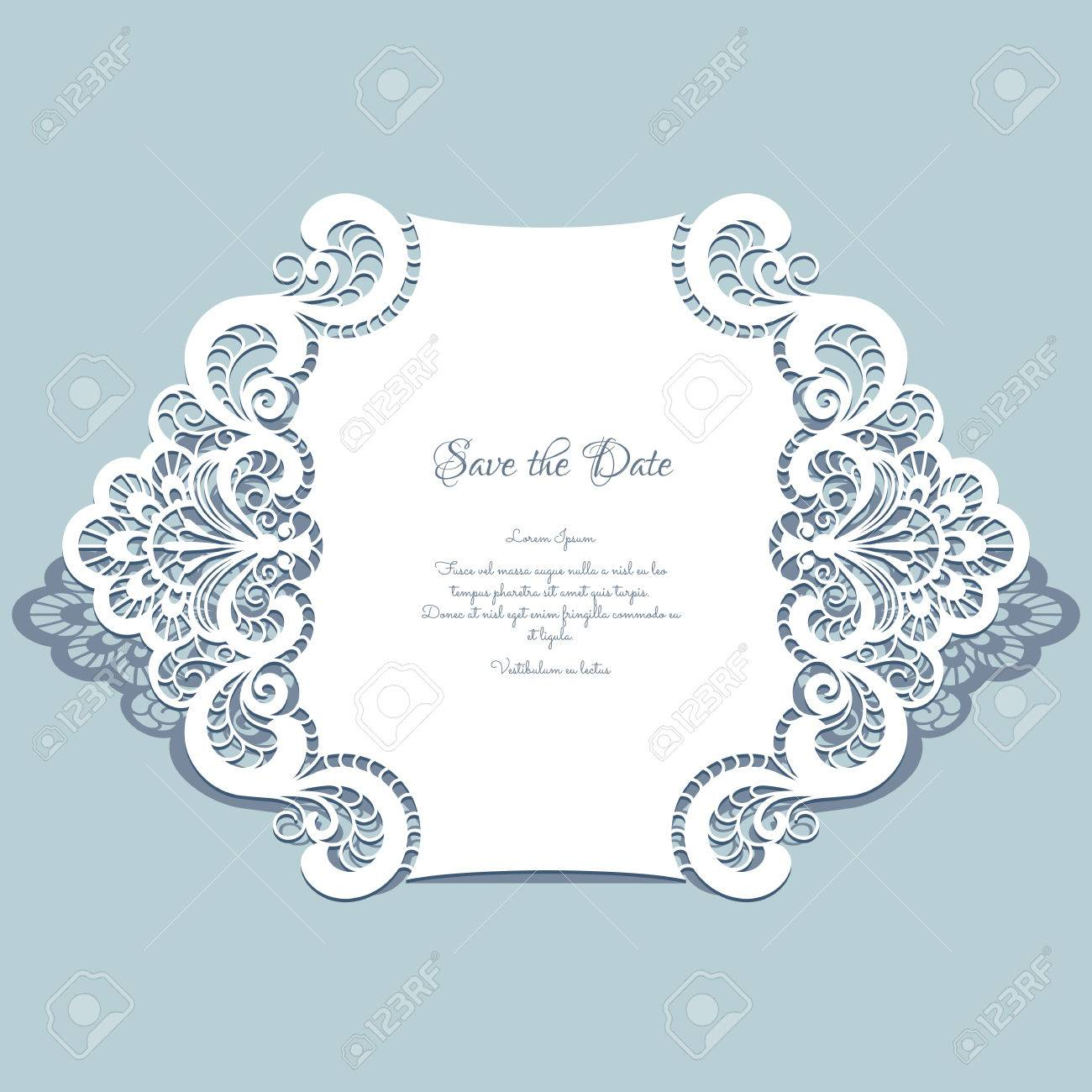Cutout paper lace frame, greeting card, save the date or wedding invitation template - 43136322