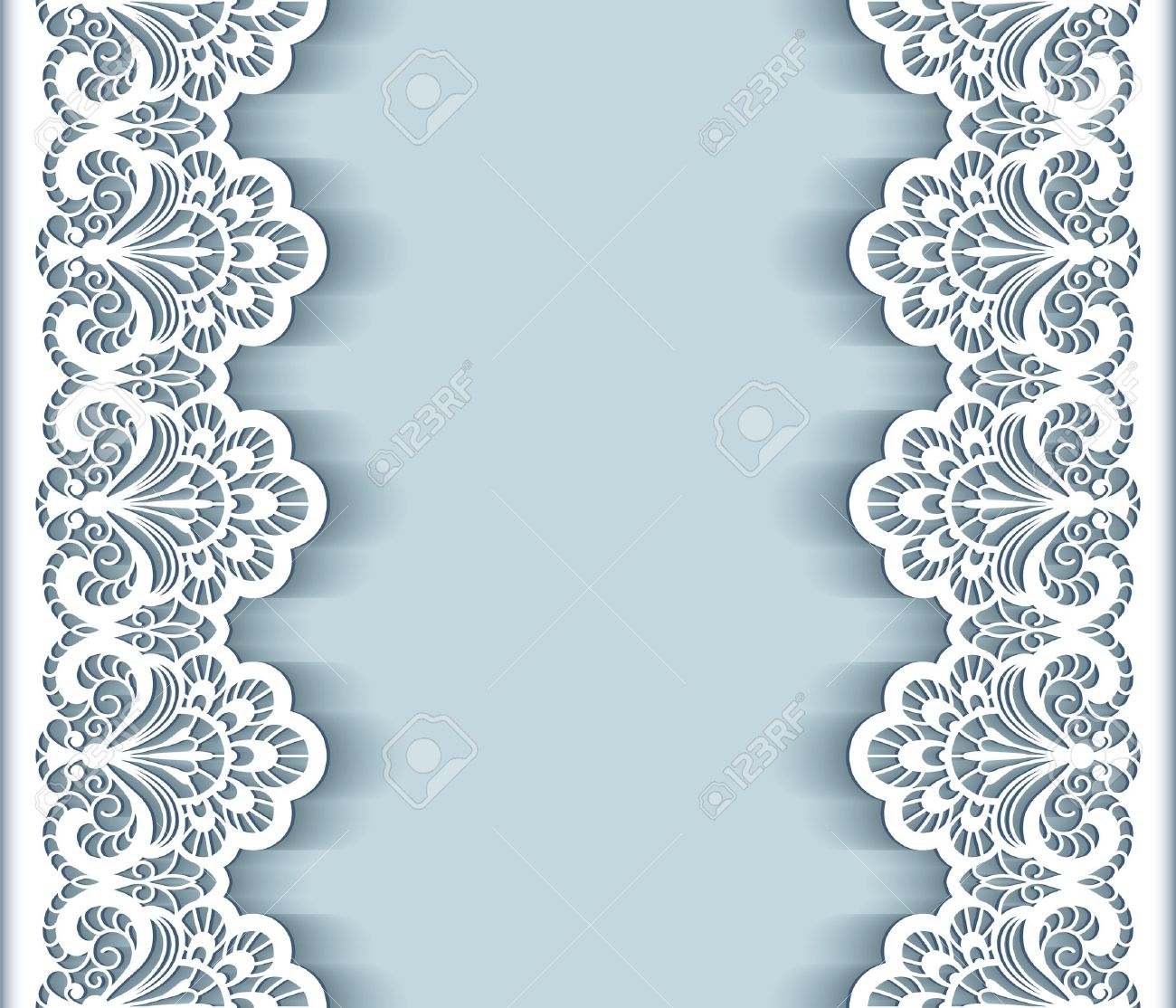 Elegant Background With Cutout Paper Lace Borders Greeting Card – Border Paper Template