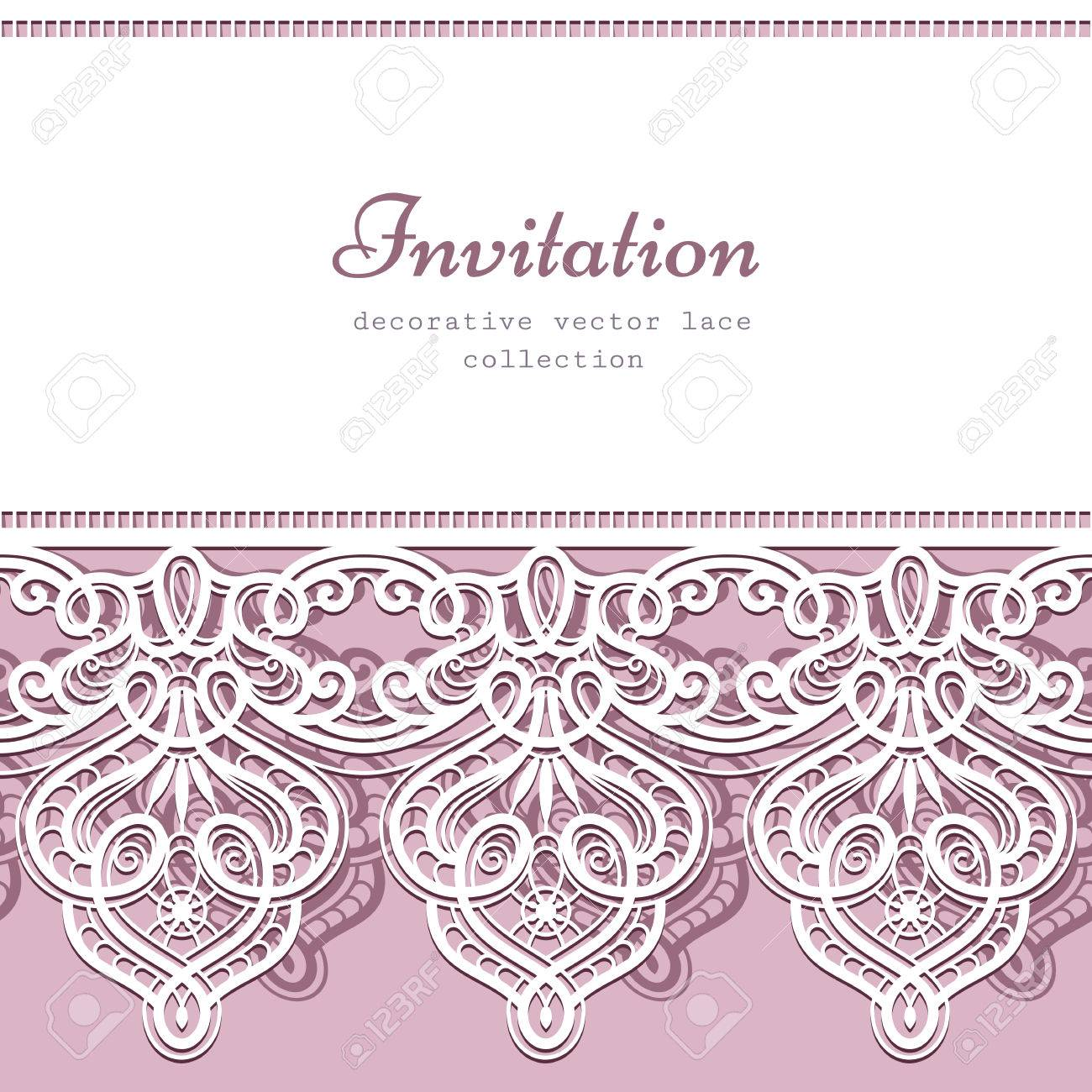 Lace background with cutout lacy border ornament elegant greeting lace background with cutout lacy border ornament elegant greeting card or wedding invitation template stock stopboris Choice Image