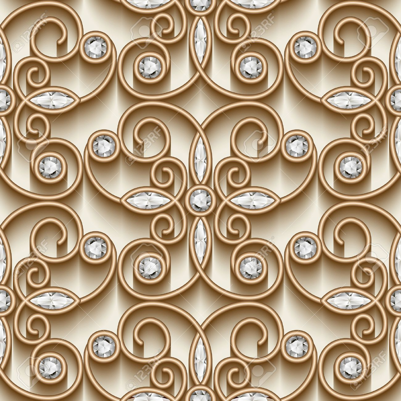 Vintage gold ornament, jewelry seamless pattern with diamonds - 44166440