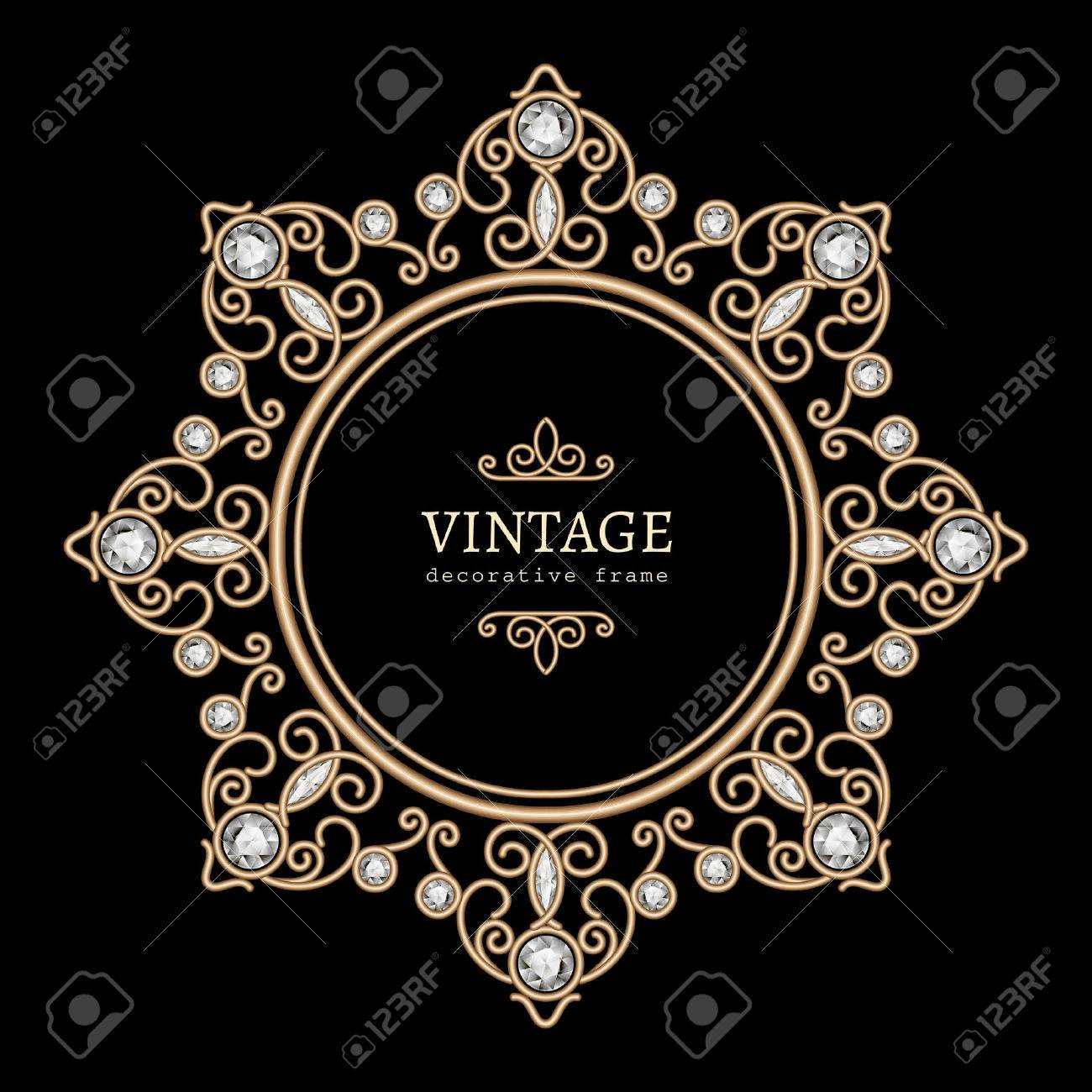 Vintage gold jewelry necklace, round frame, jewellery vignette with diamonds on black - 44650249