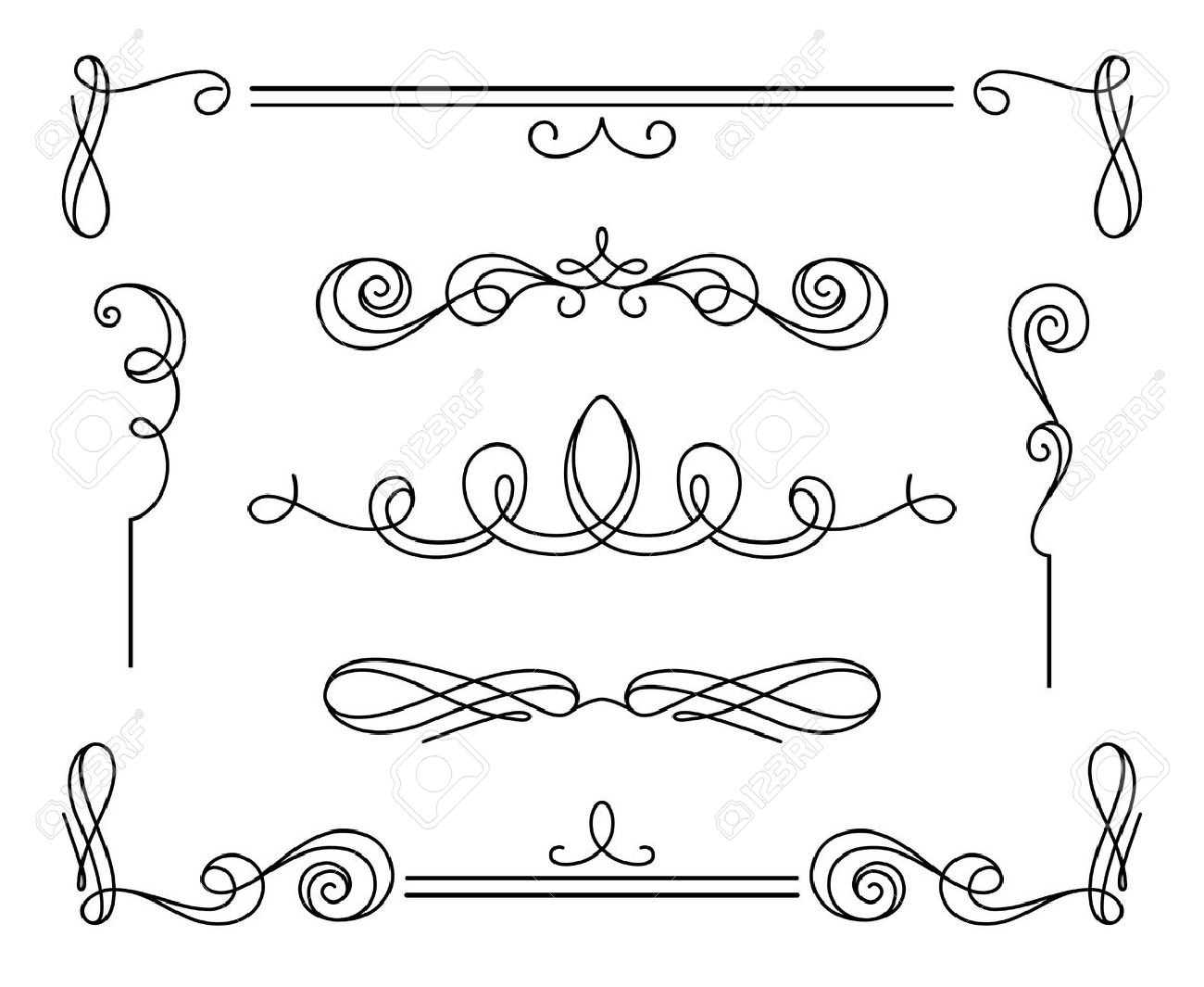 Vintage calligraphic vignettes and dividers, set of decorative design elements in retro style, simple swirls, scroll embellishment on white - 45459101