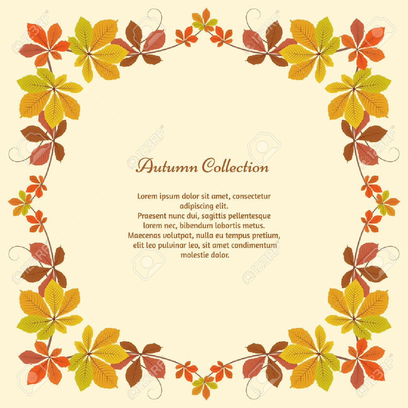 Abstract autumn background, square frame with yellow chestnut leaves, autumn leaves, seasonal background - 45459103