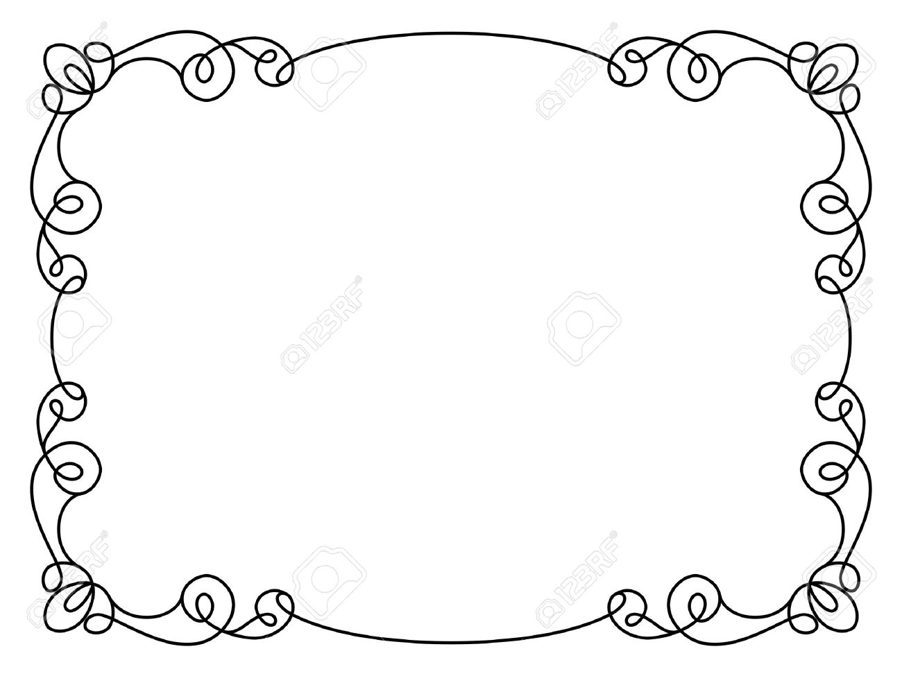 Simple Frame Design Calligraphic Rectangle Ornament Decorative Element In