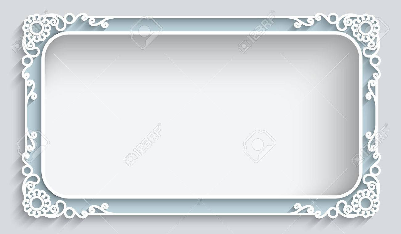 Rectangle lace frame with cutout paper decoration, greeting card or wedding invitation template - 46637719