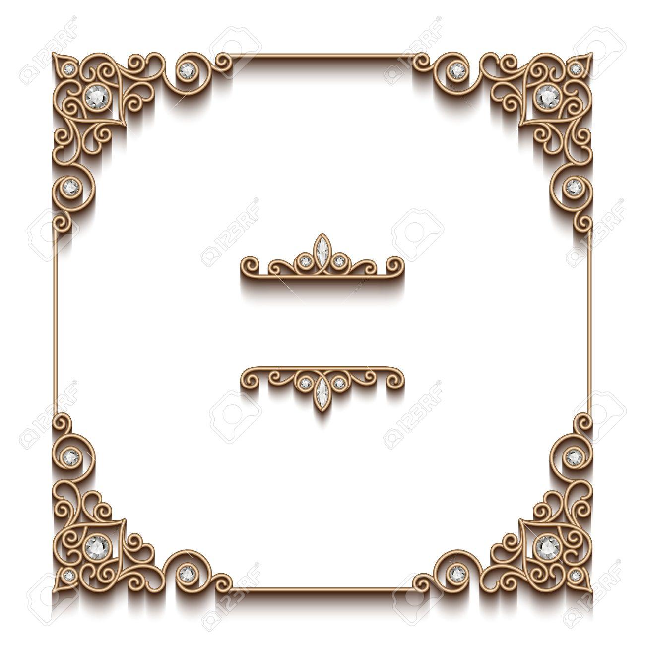 Vintage gold background, elegant square frame, antique jewelry vignette on white - 46961059