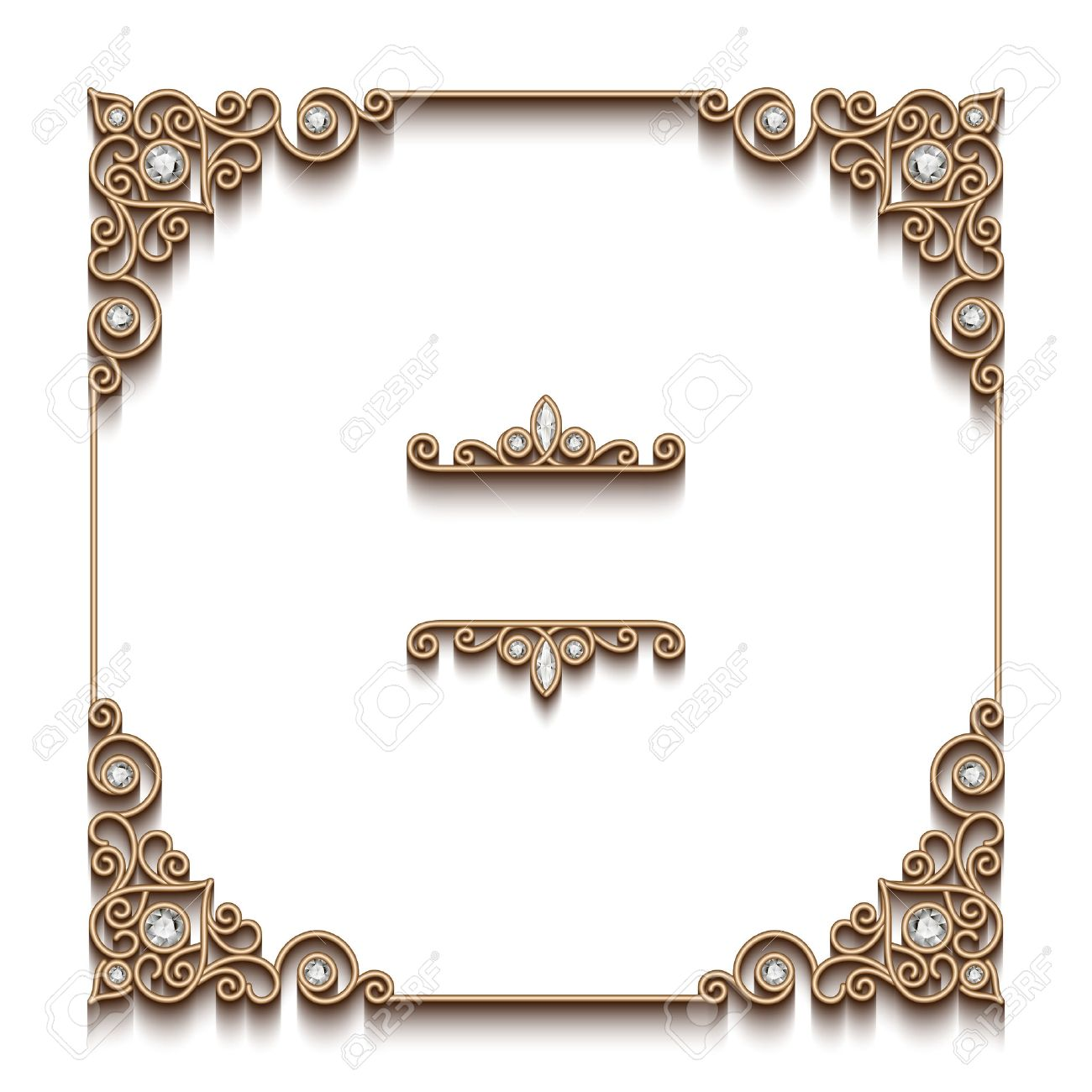 vector vintage gold background elegant square frame antique jewelry vignette on white