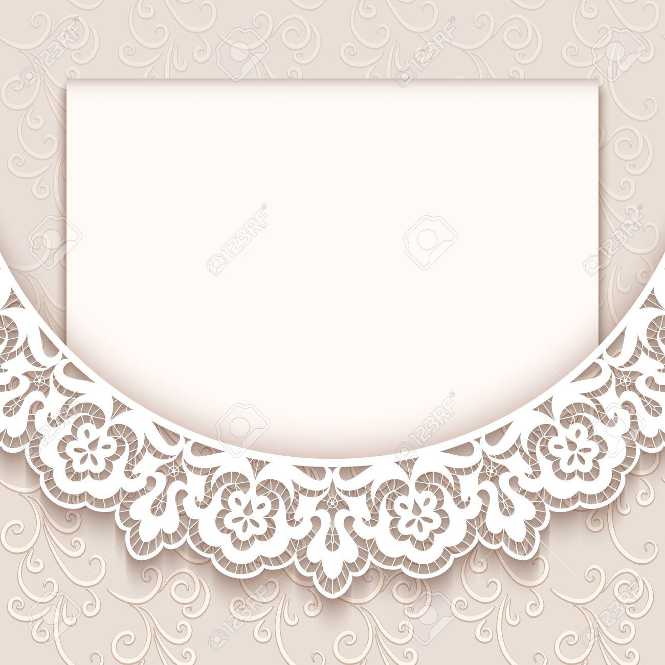 Elegant Greeting Card With Lace Decoration, Vintage Wedding ...