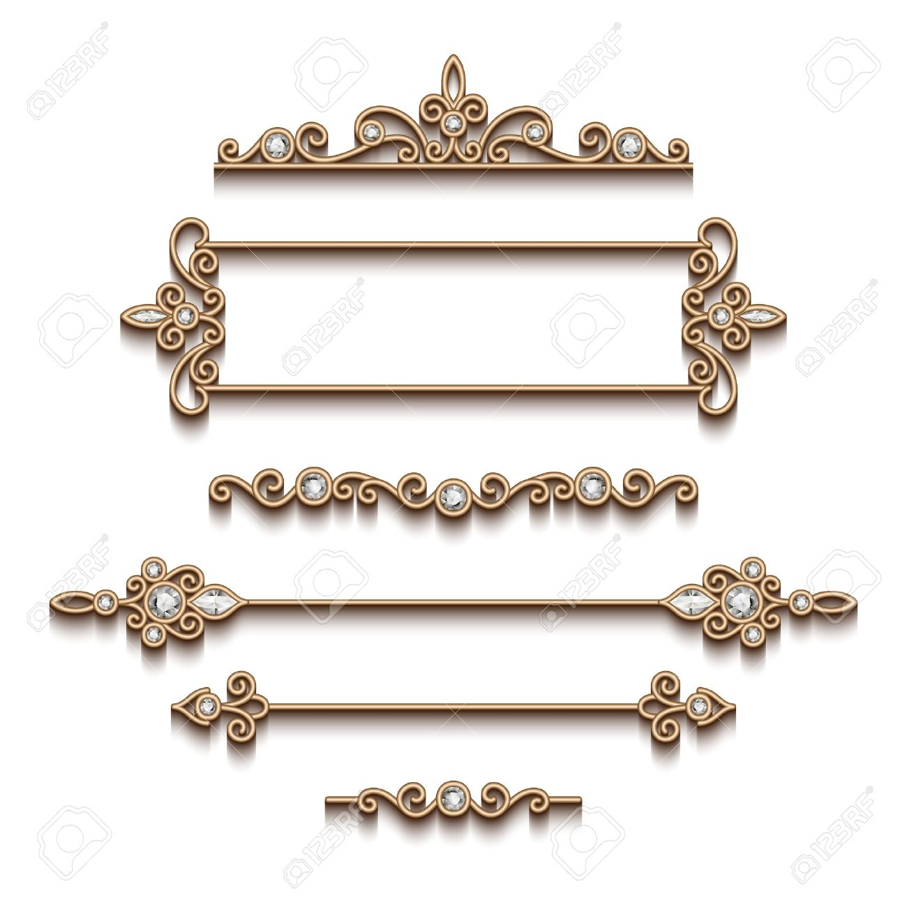 Vintage gold jewelry vignettes and dividers, set of decorative jewellery design elements on white background - 46961067