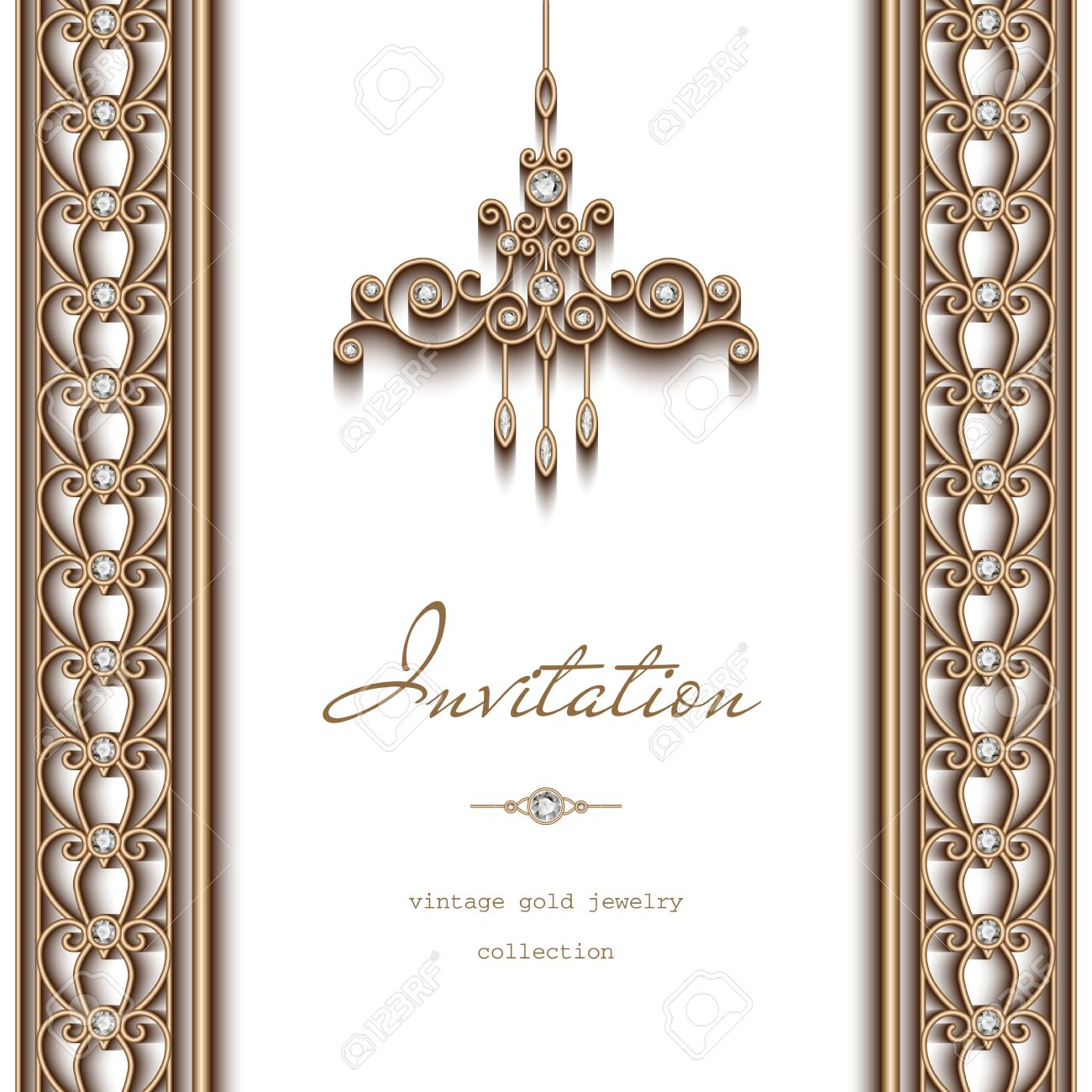 Vintage gold frame invitation template ornate chandelier and vector vintage gold frame invitation template ornate chandelier and jewelry borders on white background aloadofball Image collections