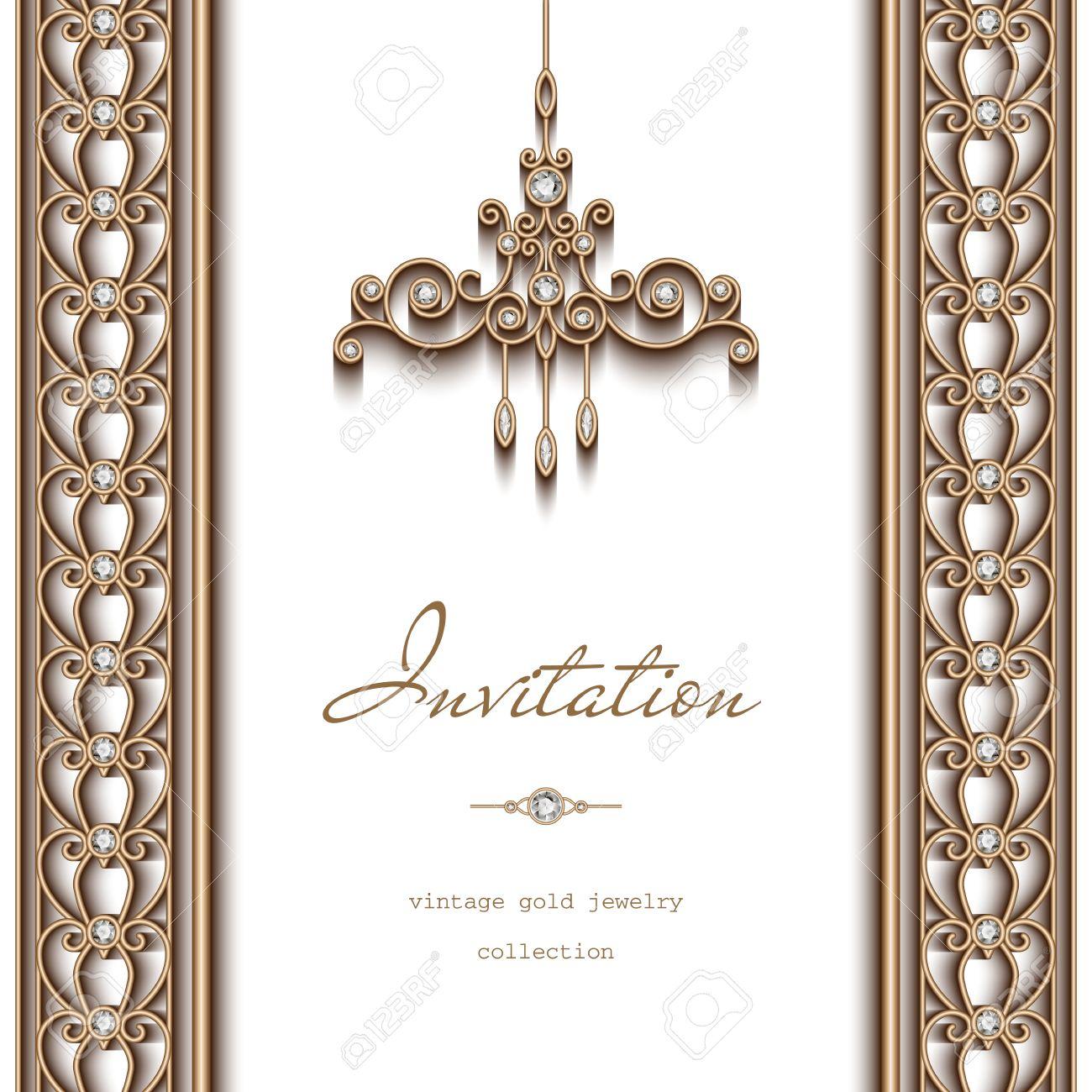 ornate gold frame border. Delighful Ornate Vector  Vintage Gold Frame Invitation Template Ornate Chandelier And  Jewelry Borders On White Background To Ornate Gold Frame Border