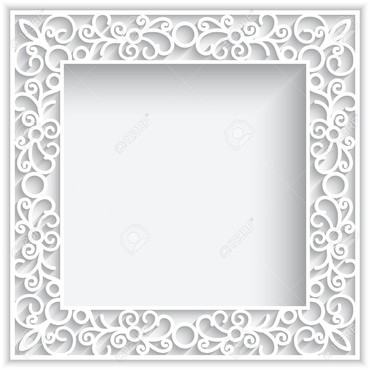 Abstrakter Quadratischer Spitze Rahmen Mit Papier Swirlse, Weiße ...