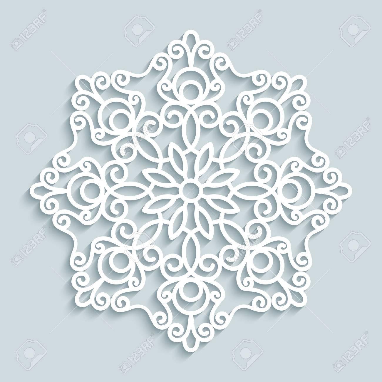 Papier Spitzendeckchen Dekorative Schneeflocke Mandala Rund