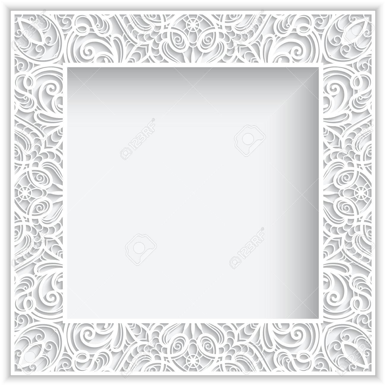 Abstract square lace frame with paper swirls, white frame, white ornamental background - 48108773
