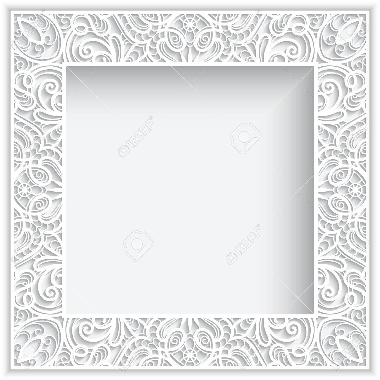 Zusammenfassung Quadrat Spitze Rahmen Mit Papier Wirbelt, Weißer ...