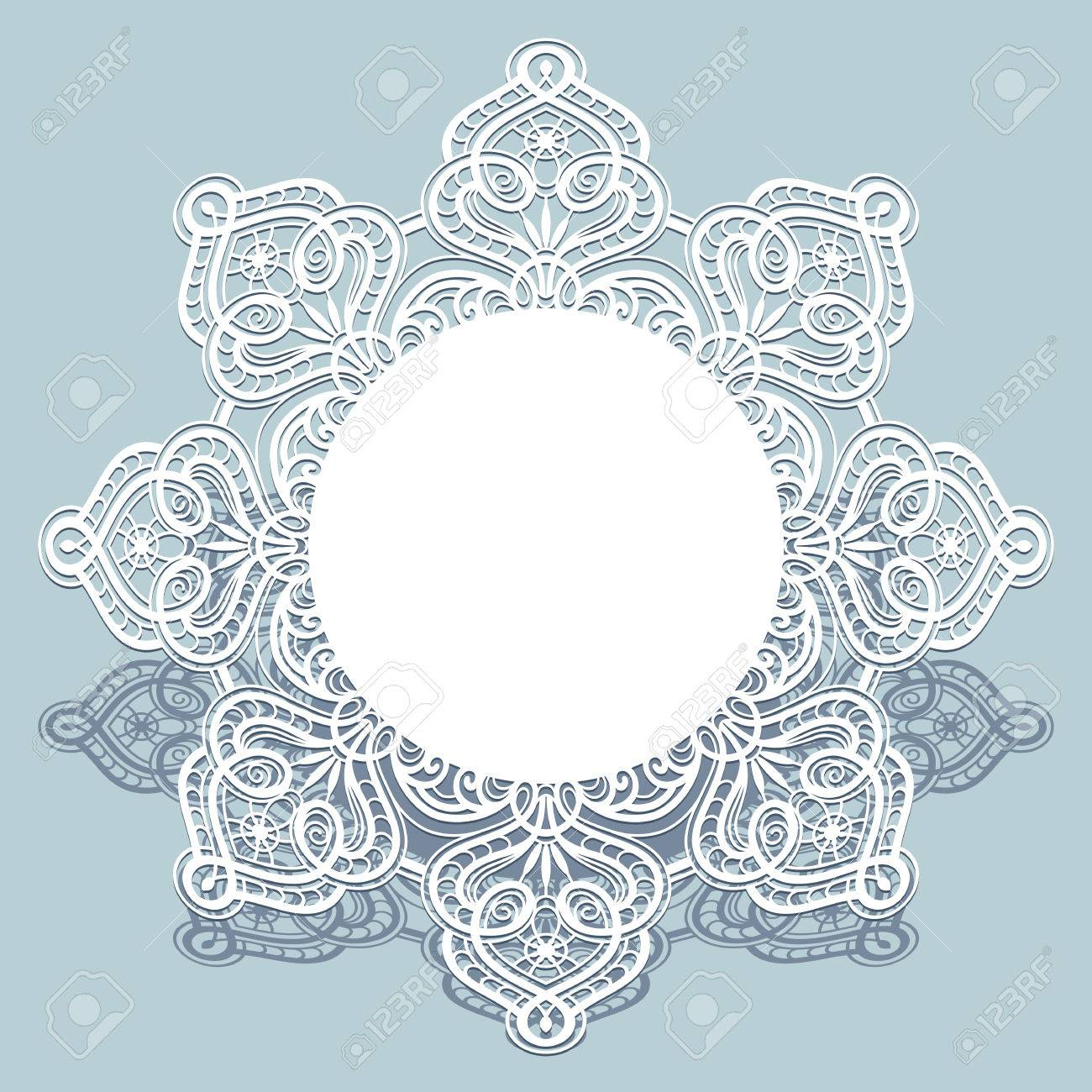 Round Paper Lace Frame, White Lace Doily, Greeting Card Or Wedding ...