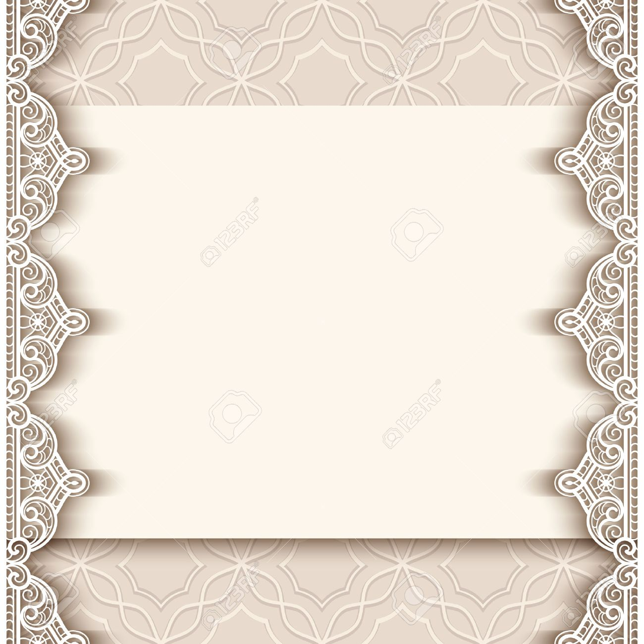 Vintage greeting card with lace border decoration, cutout paper background, wedding invitation or announcement template, vector illustration - 48108783