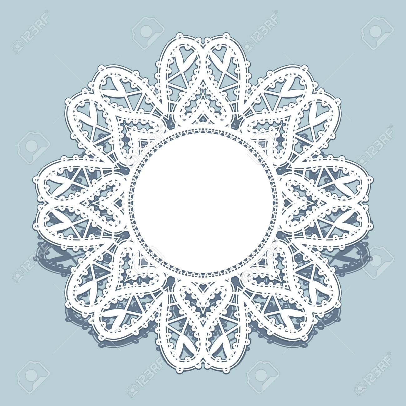Round Paper Lace Frame White Doily Snowflake Greeting