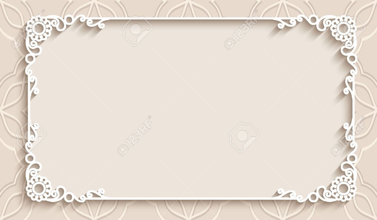 Rectangle lace frame with cutout paper decoration, greeting card or wedding invitation template - 48900954