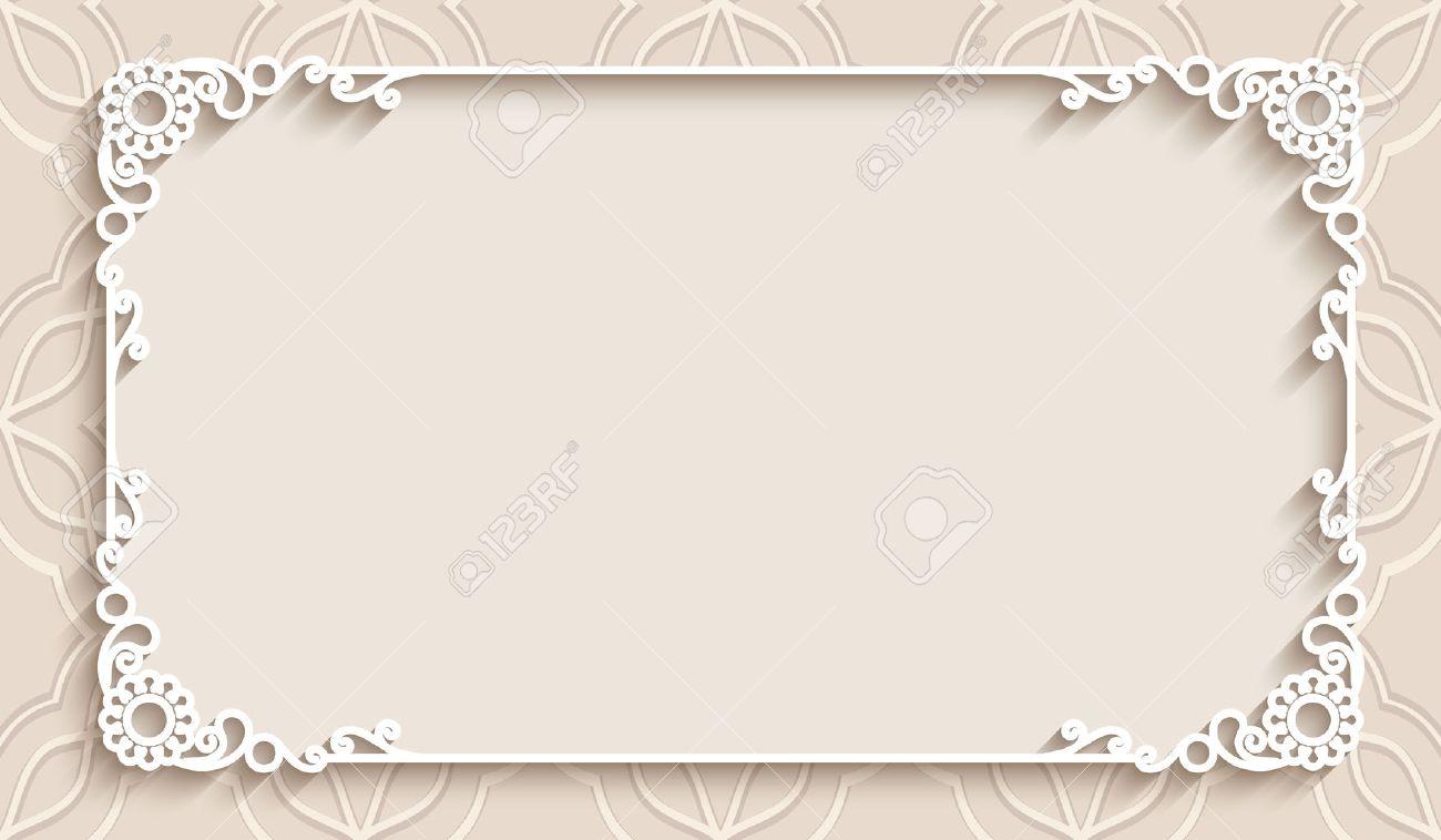 Assez Lace Frame Rectangle Avec Du Papier De Décoration Détouré, Carte  AT57