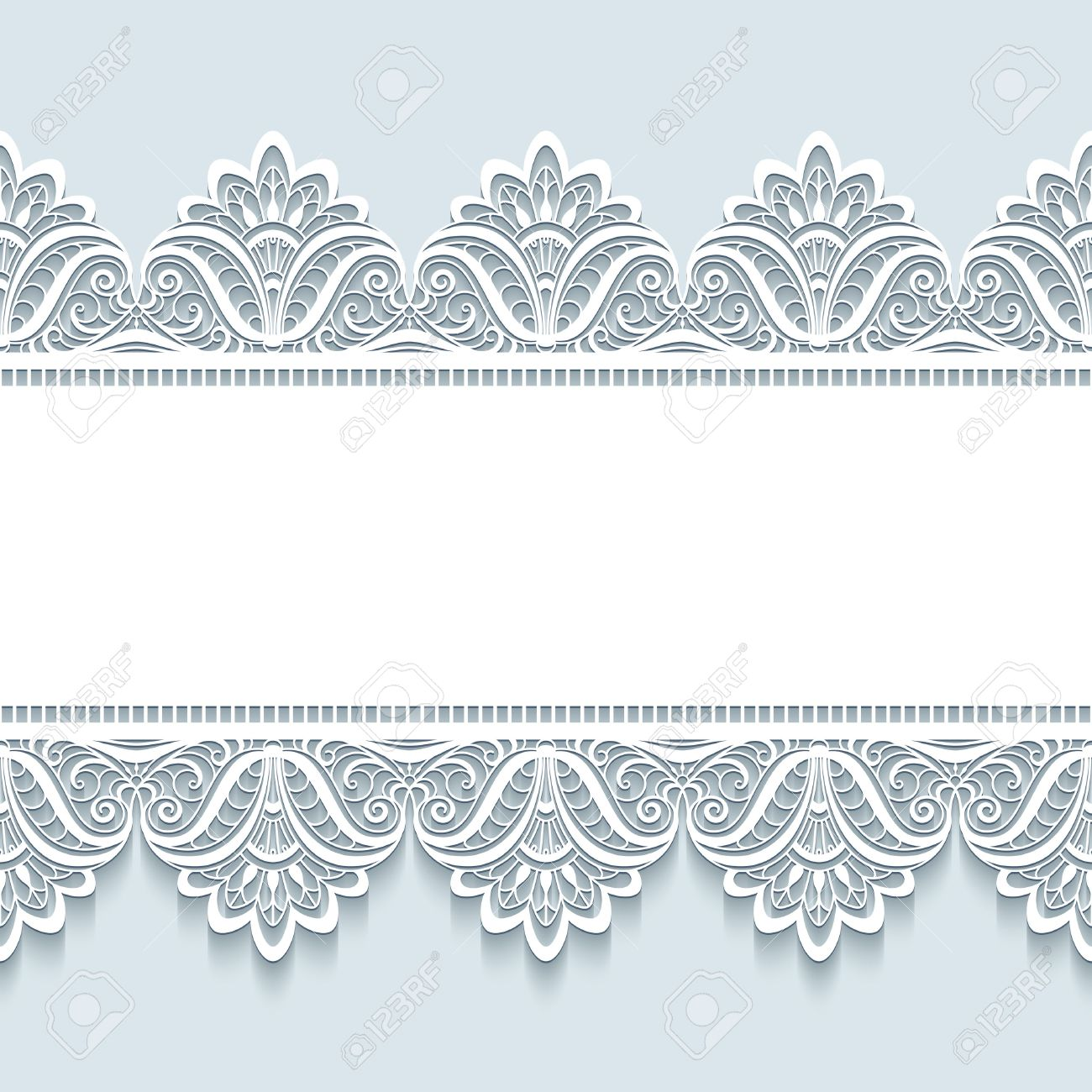 Vintage frame with seamless lace border ornament, merry Christmas background, elegant greeting card or invitation template - 48900967