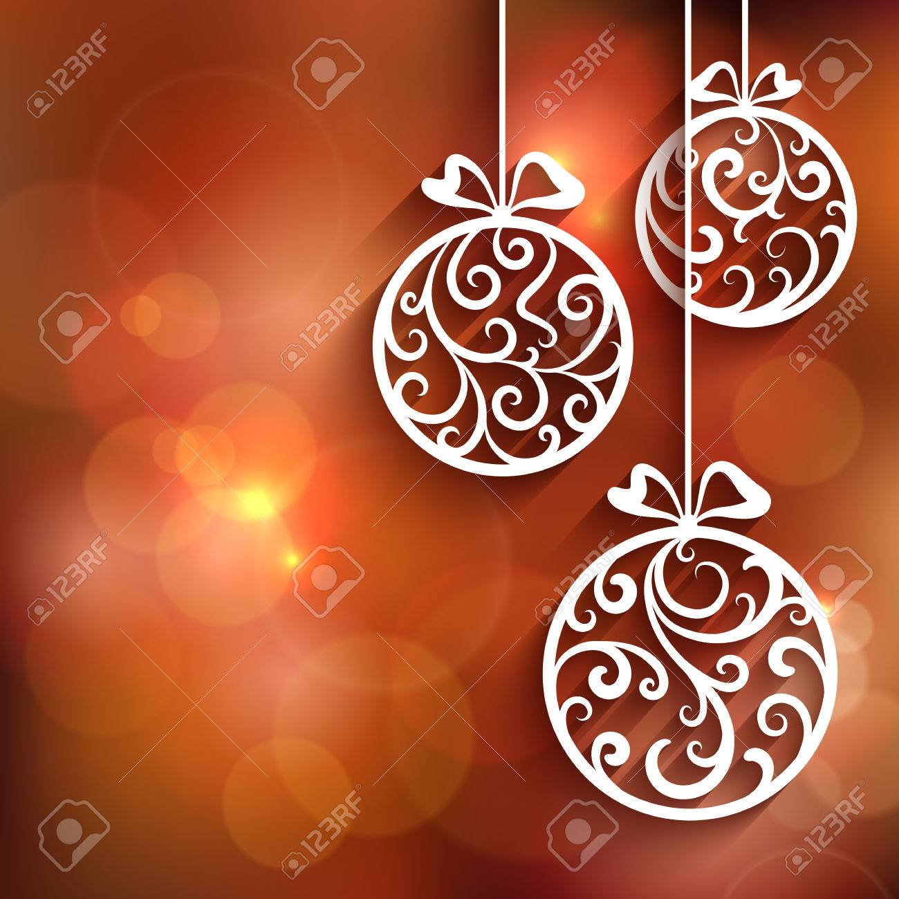 Ornamental Christmas balls with paper swirls, decorative background - 49708347