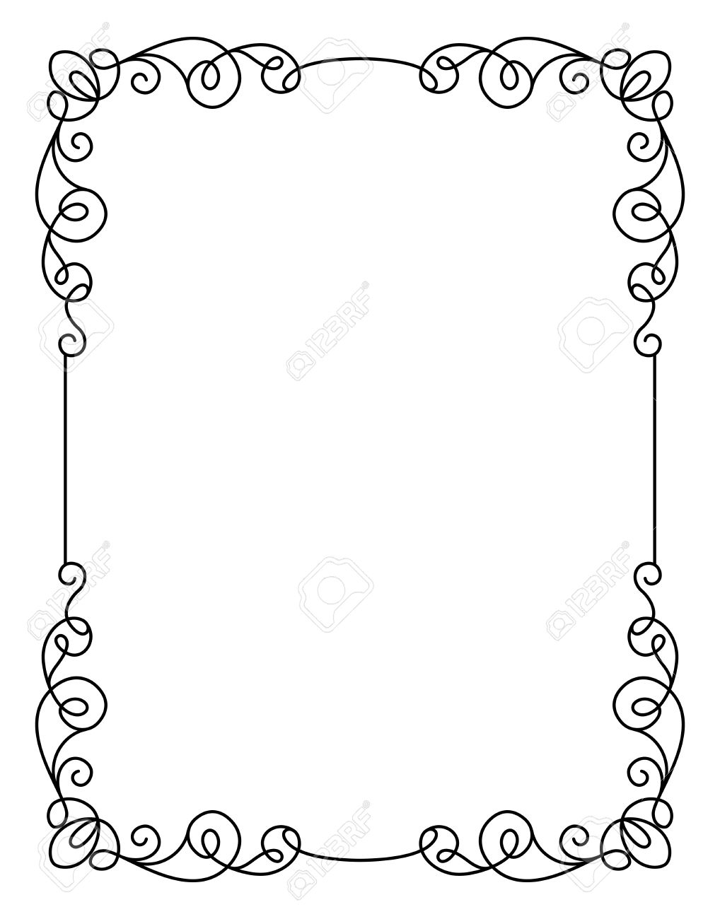 Calligraphic Rectangle Frame Simple Ornament Decorative Design Element In Retro Style Certificate