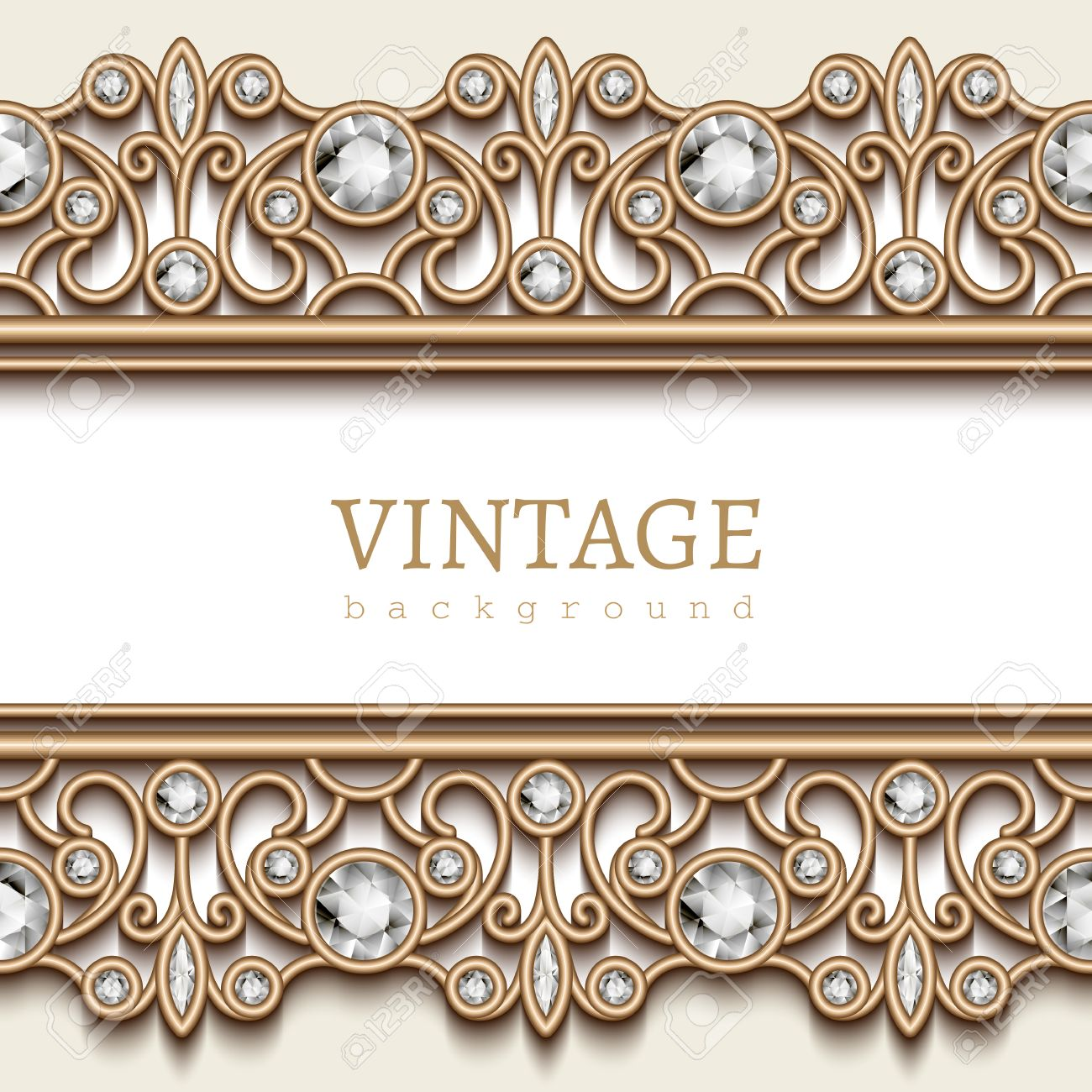 Vintage Gold Jewelry Background Jewellery Frame With Seamless