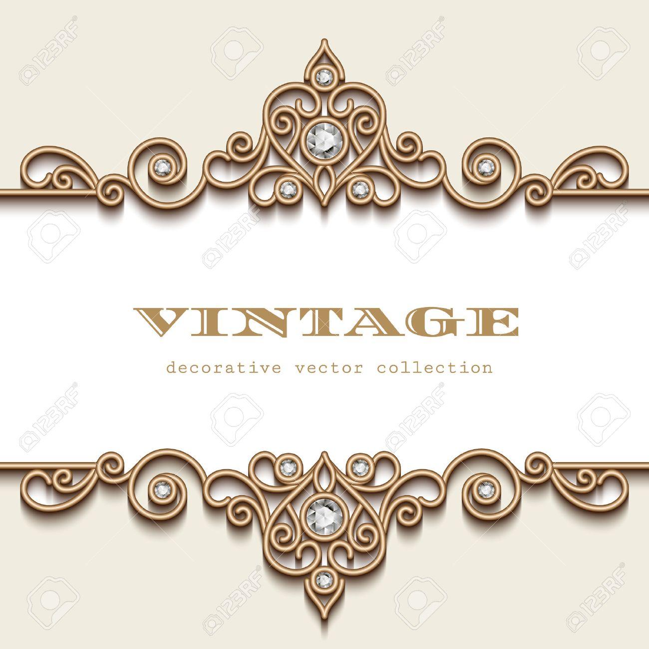 Vintage gold jewelry frame on white, divider element, elegant header with jewellery border ornament - 50933680