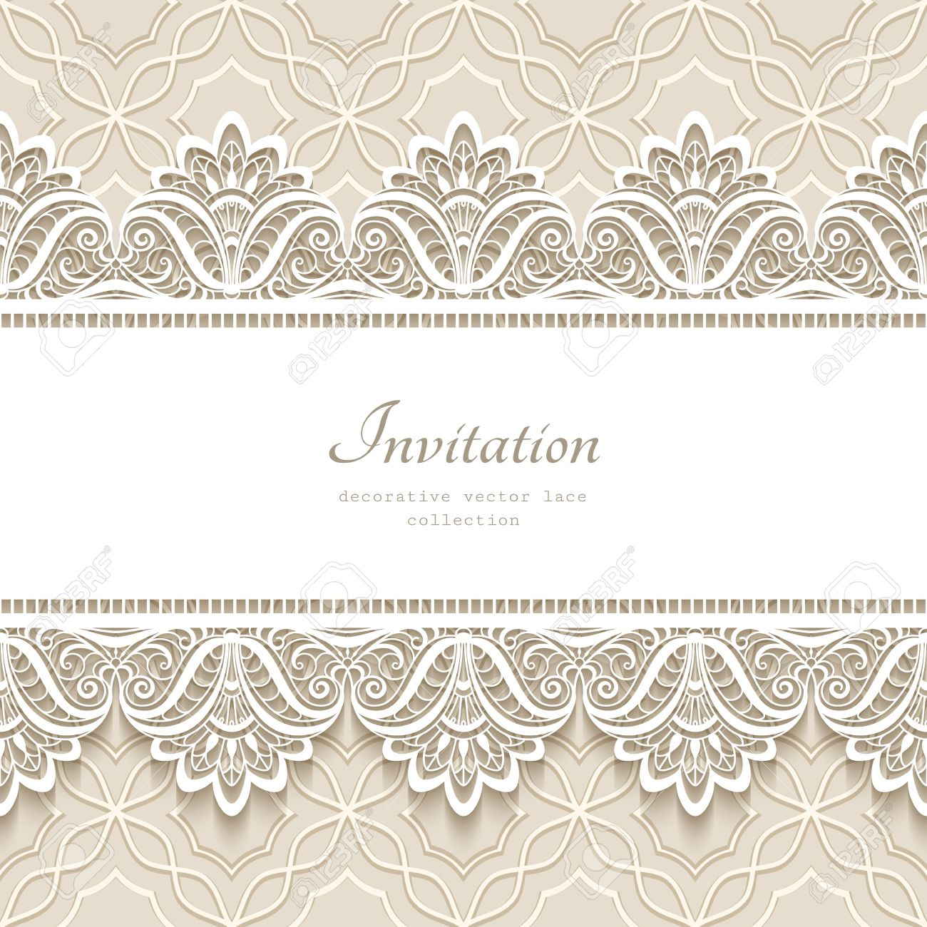 Vintage lace background with seamless border ornament, elegant greeting card or wedding invitation template - 50933710