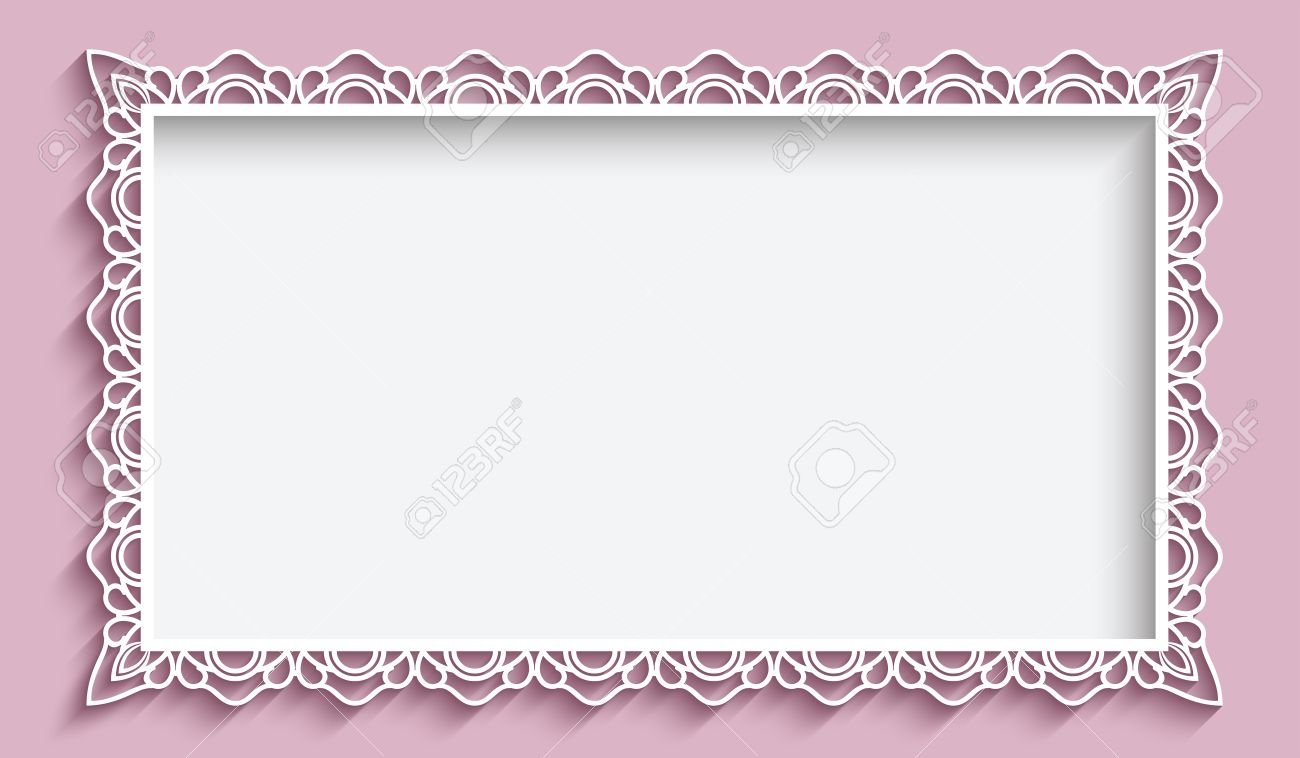 Rectangle frame with paper lace border ornament, vintage background, greeting card or wedding invitation template - 50896530