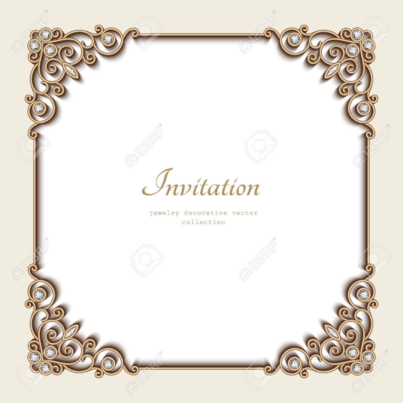 vector vintage gold background elegant square frame invitation template antique jewelry vignette