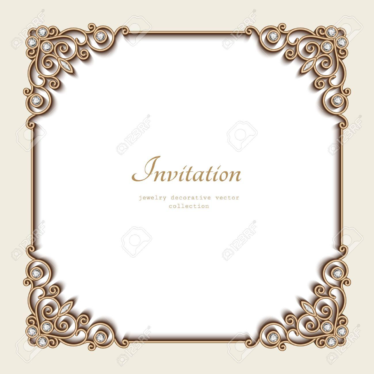 Vintage gold background elegant square frame invitation template vector vintage gold background elegant square frame invitation template antique jewelry vignette stopboris Images