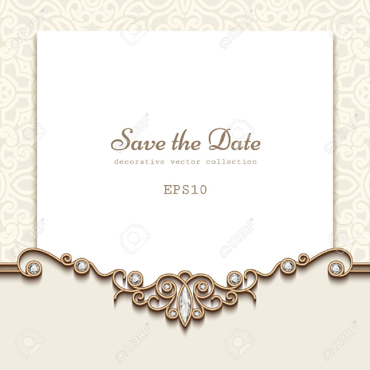 Elegant save the date card with jewelry diamond decoration vintage elegant save the date card with jewelry diamond decoration vintage wedding invitation or announcement template stopboris Choice Image