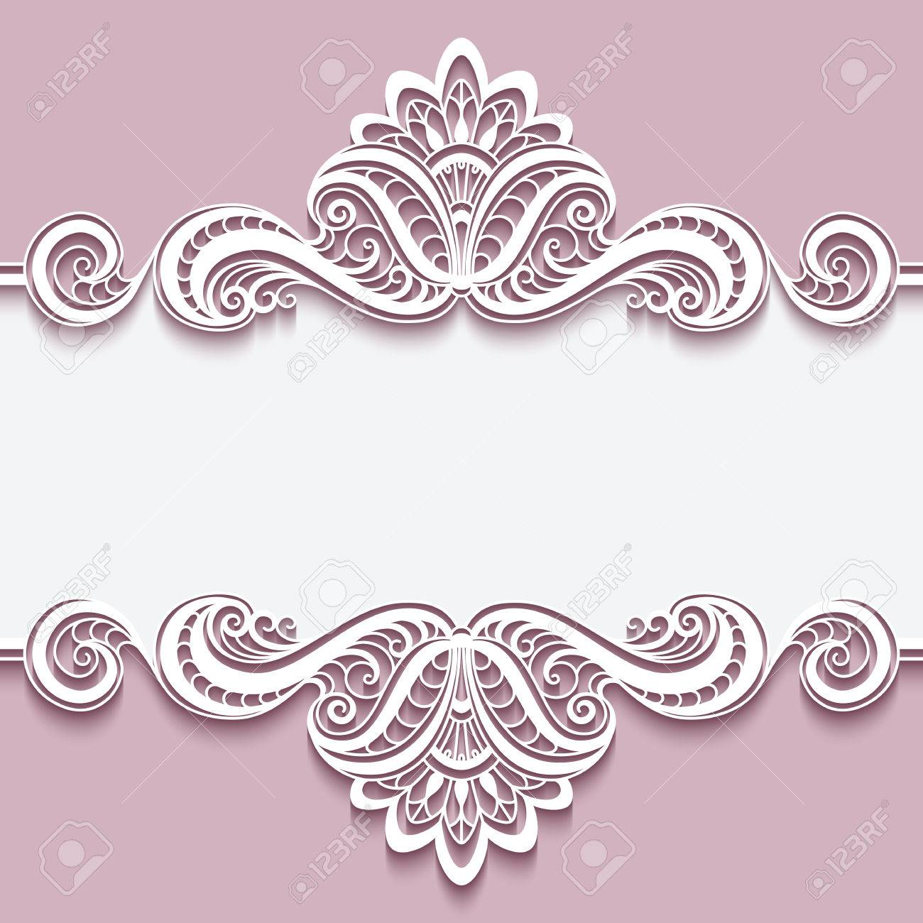 Elegant cutout paper frame with lace border ornament greeting elegant cutout paper frame with lace border ornament greeting card or invitation template stock stopboris Gallery