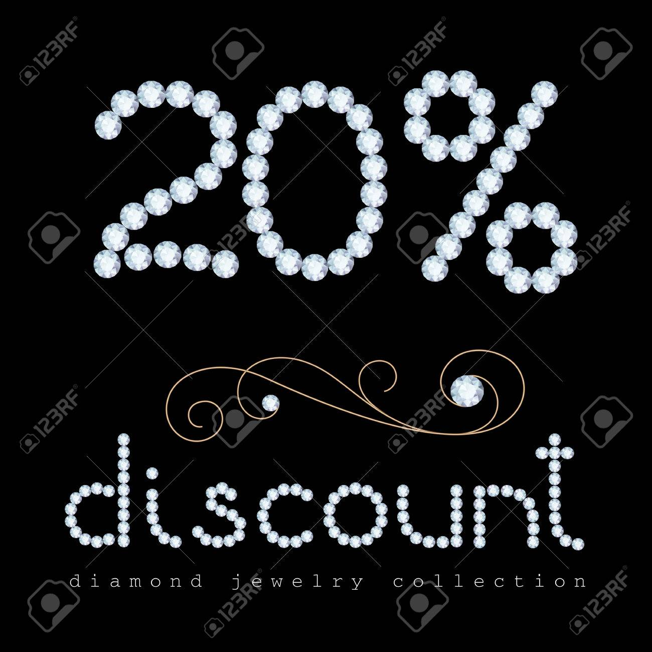 20 Percent Discount Banner, Diamond Jewelry Letters And Digits