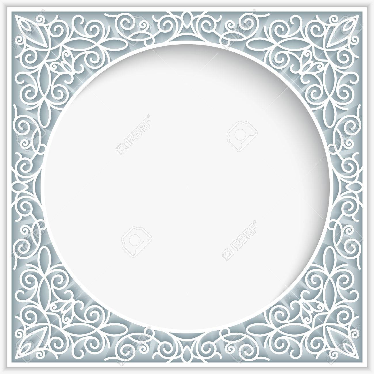 Abstract frame with paper swirls, ornamental lace background - 52369611
