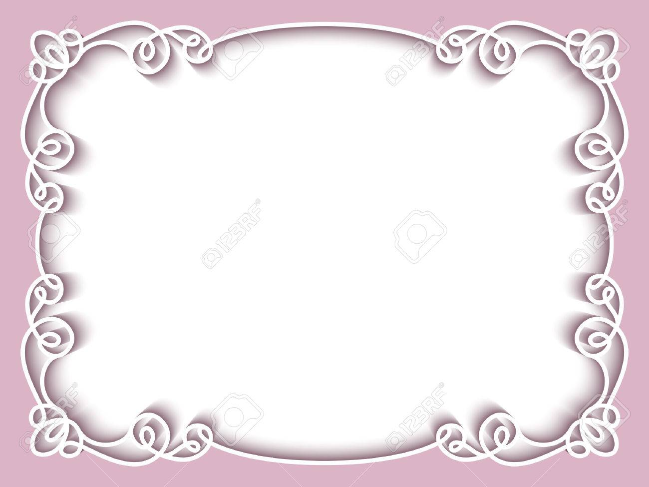 Rectangle Paper Lace Frame Greeting Card Or Wedding Invitation Template Stock Vector