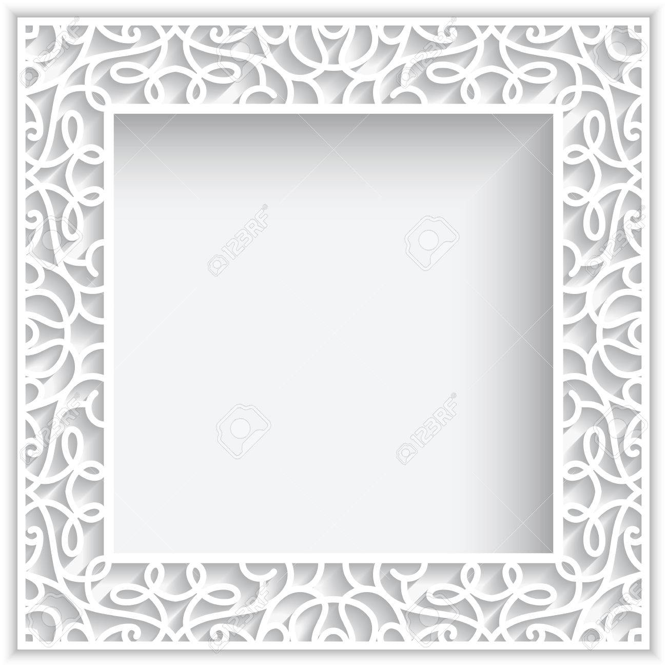 Square Cutout Paper Lace Frame On White Background Royalty Free ...
