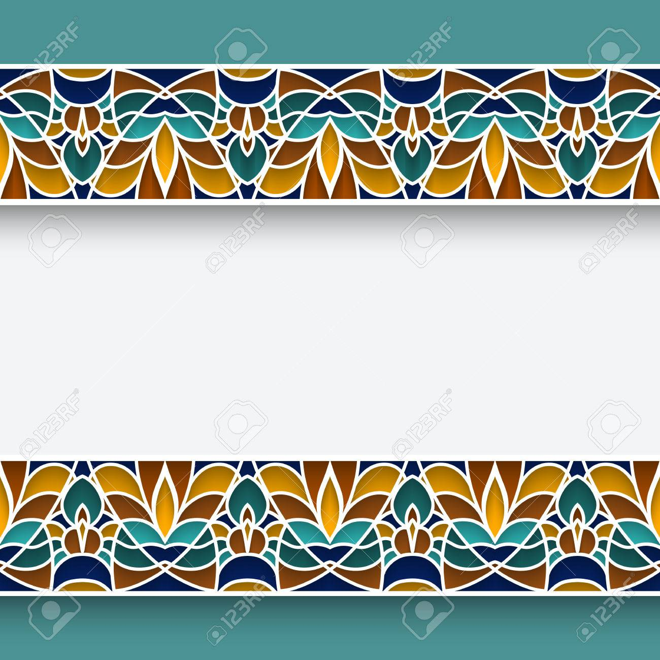 Mosaic Frame With Ornamental Majolica Border Lines In Moorish Style Stock  Vector   54710501