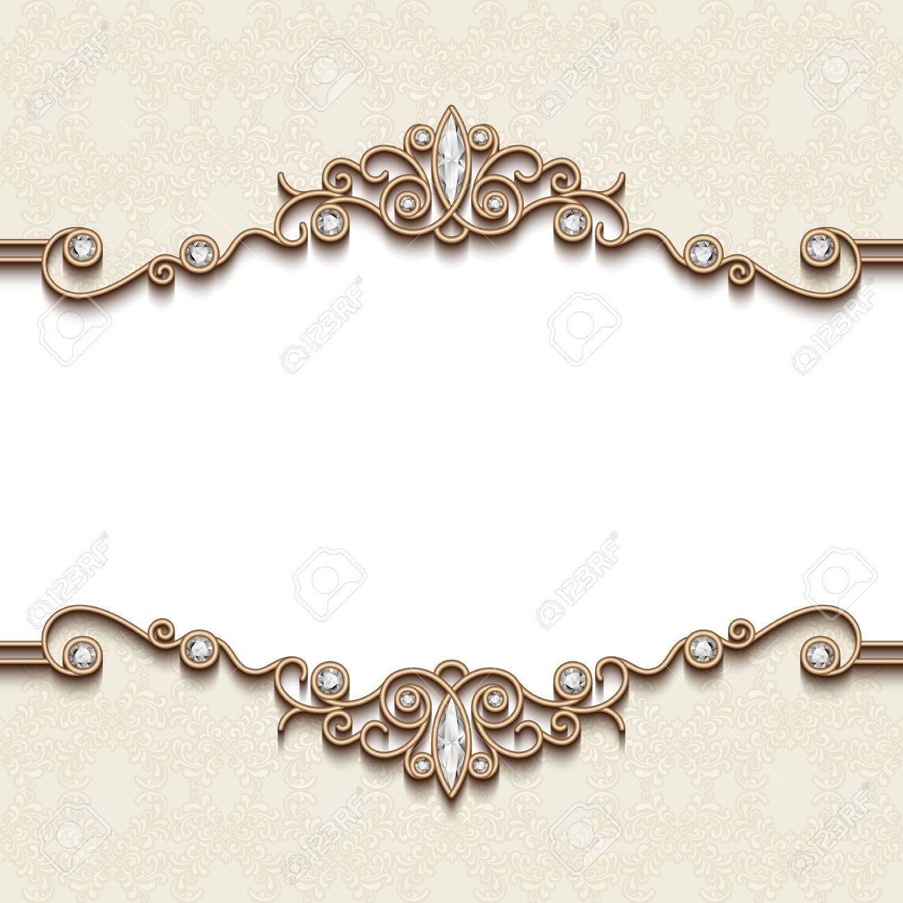 Vintage gold frame on white, divider element, elegant background with jewelry borders - 56298811